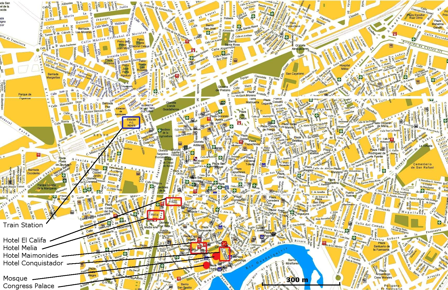 Detailed city map of Cordoba street map – Tourist Map Of Cordoba Spain